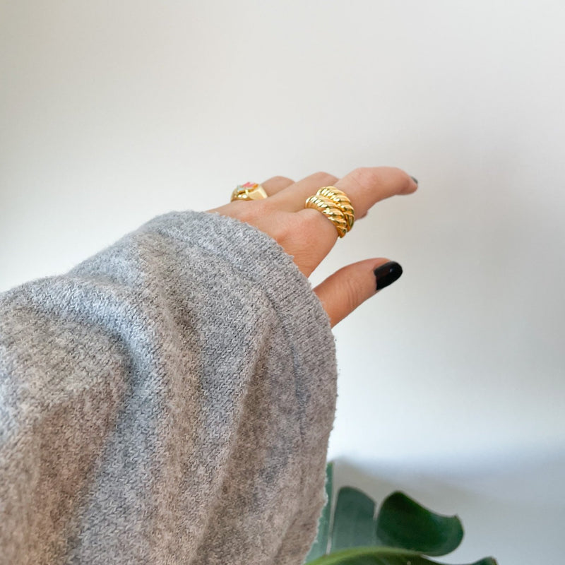 Golden Twirl - Gold Plated & 925 Sterling Silver Ring