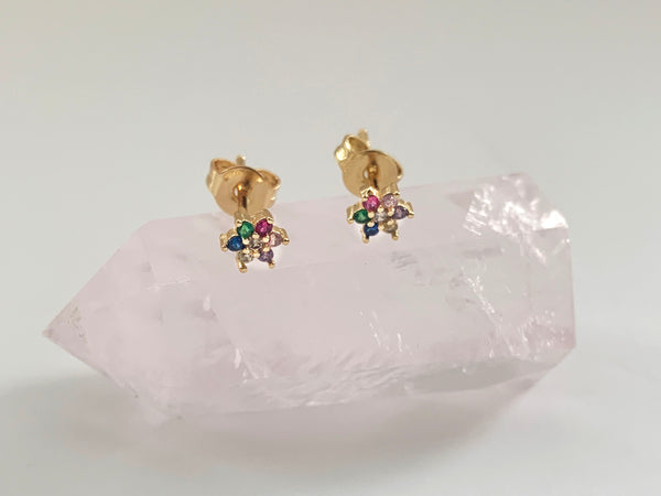 Mini Rainbow Stud Earrings - 14K Gold Vermeil