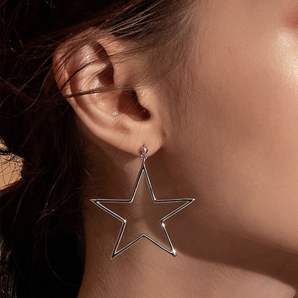 Star Hoop Dangles - 925 Sterling Silver