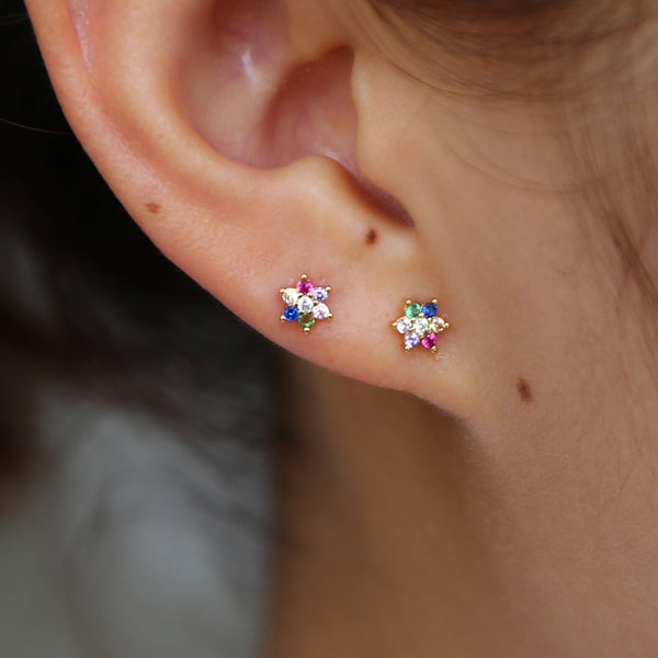 Mini Rainbow Stud Earrings - 925 Sterling Silver