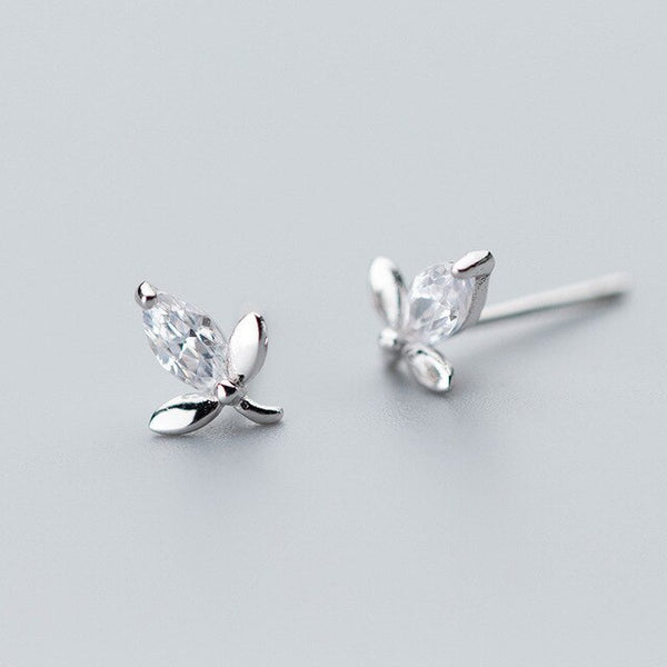 Mini Leaf Stud Earrings - 925 Sterling Silver | Bohemian Guru