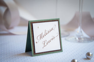 Square, Triple-Layered, Tented, Place Cards with Pearls