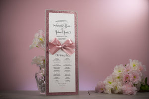 Large, Triple-Layered, Ceremony Program Cards with Bows