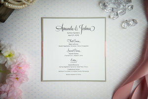 Square Menu Cards with Ribbon