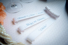 Double-Sided Champagne Flute Place Card Scrolls