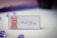 Double-Layered, Tented Place Cards with Crystal Rhinestone Buckles