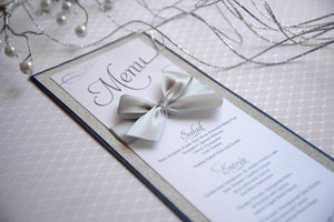Large, Triple-Layered Menu Cards with Bows