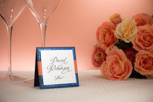 Square, Triple-Layered, Tented Place Cards with Ribbon