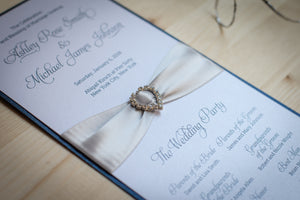Large, Ceremony Program Cards with Crystal Rhinestone Buckles