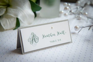Layered Place Card Tents with Pearls