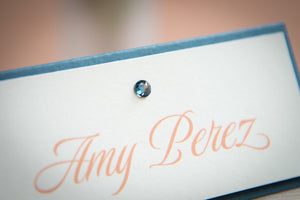 Layered Place Card Tents with Crystal Rhinestones
