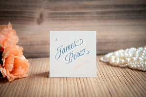Square Place Card Tents with Pearls