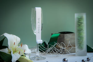 Champagne Flute Place Card Scrolls with an Ombré Pattern