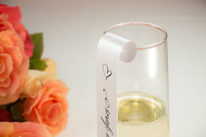 Stemless Champagne Flute Place Card Scrolls
