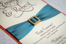 Large Menu Cards with Crystal Rhinestone Buckles