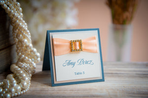 Square, Triple-Layered Place Card Tents with Crystal Rhinestone Buckles