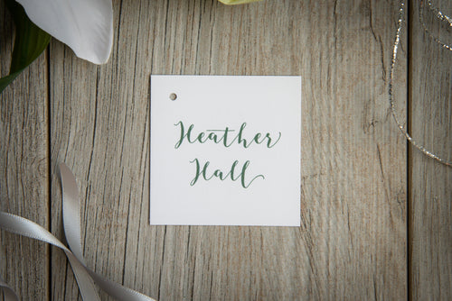 Square, Large Place Card Tags with Ribbons