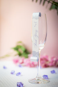 Champagne Flute Place Card Scrolls with a Lace Pattern