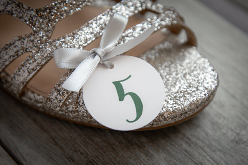 Round, Dance Sandal Size Tags