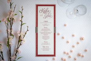 Large, Triple-Layered Menu Cards with Ribbon