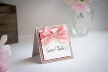 Square, Triple-Layered, Tented Place Cards with Bows