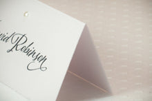 Tented Place Cards with Pearls