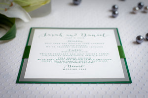 Square, Triple-Layered Menu Cards with Ribbon