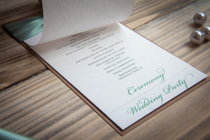 3-Page, Layered Ceremony Program Cards with Crystal Rhinestone Buckles