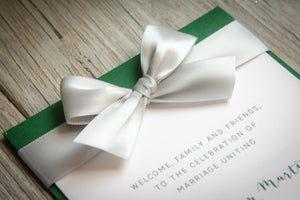 Large, 4-Page, Layered Ceremony Programs with Bows