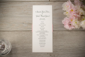 Ceremony Program Cards with Ribbon