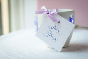 Square, Large Place Card Tags with Crystal Rhinestones