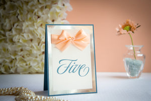 Triple-Layered, Table Number Signs with Bows