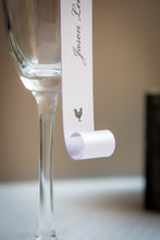 Double-Sided, Champagne Flute Place Card Scrolls with Pearls