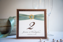 Square, Triple-Layered, Personalized Table Number Signs with Crystal Rhinestone Buckles