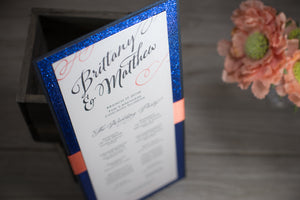 Large, Triple-Layered, Ceremony Program Cards with Ribbon