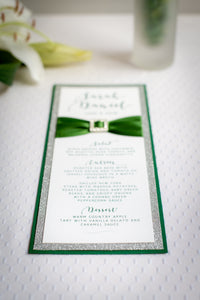 Triple-Layered Menu Cards with Crystal Rhinestone Buckles