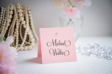 Square, Tented Place Cards with Crystal Rhinestones