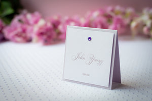 Square, Layered, Tented Place Cards with Crystal Rhinestones