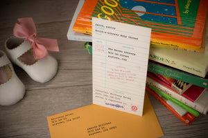 Library Check-Out Card Baby Shower Invitations