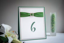 Triple-Layered, Table Number Signs with Crystal Rhinestone Buckles