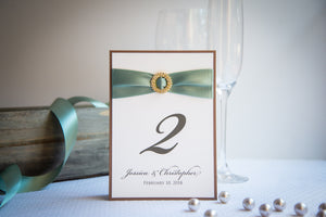 Layered, Table Number Signs with Crystal Rhinestone Buckles