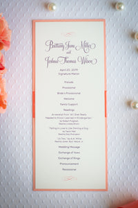 Mini, Ceremony Program Cards with Ribbon (Set of 5)