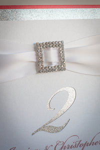 Square, Table Number Signs with Glitter, Ribbon, and Buckles