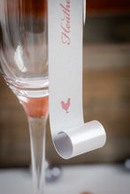 Double-Sided, Champagne Place Card Scrolls with Pearls (Set of 5)