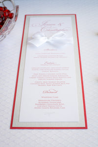 Menu Cards with Glitter and Satin Bows