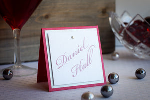 Square, Triple-Layered Place Cards with Pearls (Set of 5)