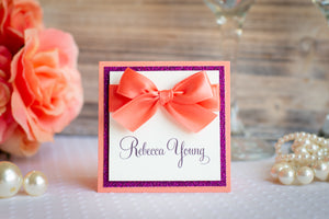 Square Place Cards with Glitter and Satin Bows (Set of 5)