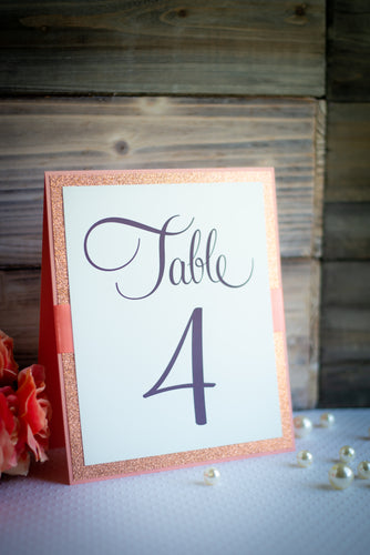 Table Number Signs with Glitter and Ribbon