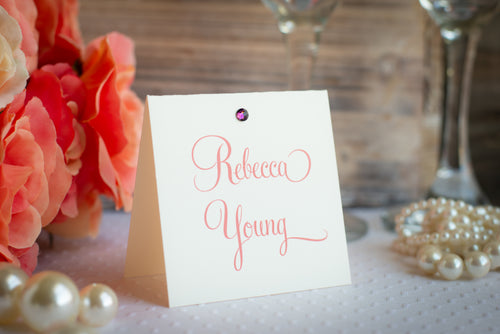 Square Place Cards with Crystals (Set of 5)