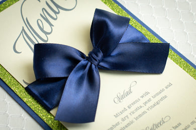 Mini Menu Cards with Glitter and Satin Bows